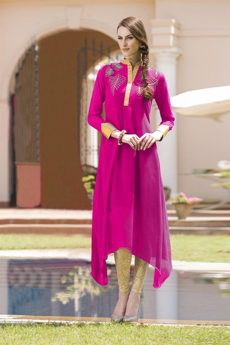 Stylish Pink Color Designer Georgette Kurti