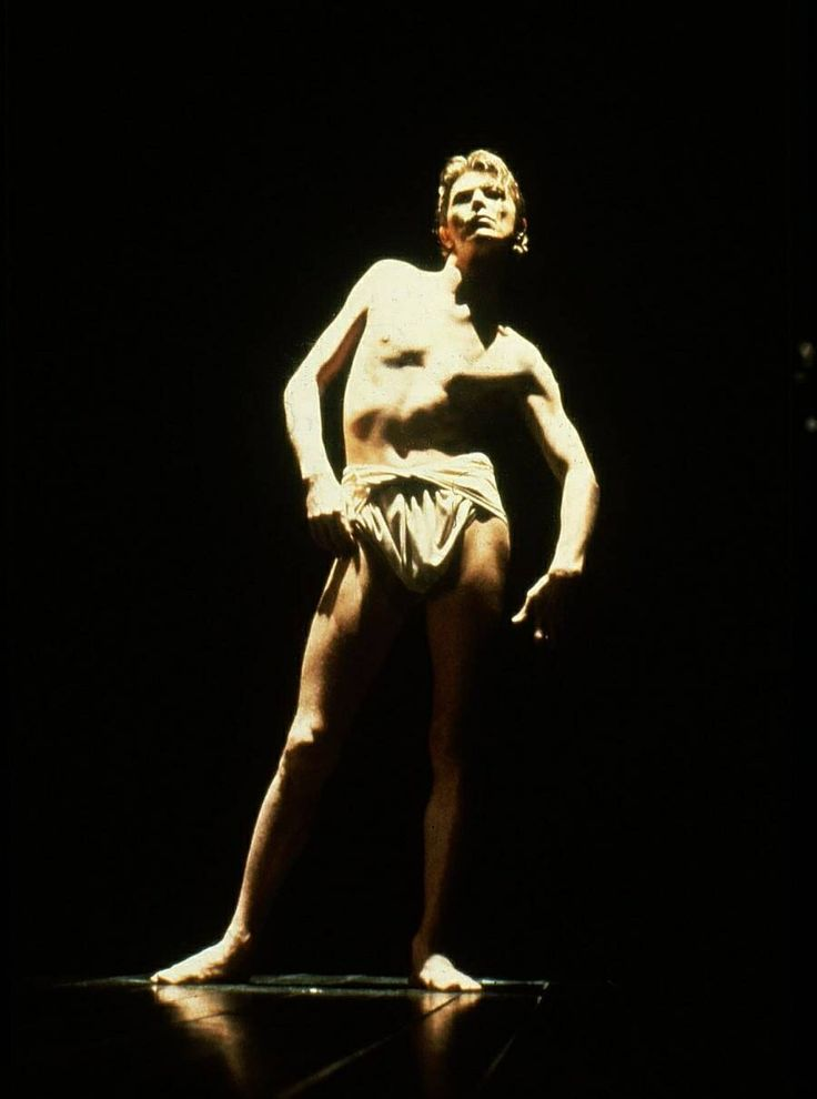 "David Bowie as John Merrick , in the play ""The Elephant Man"" by Bernard Pomerance, directed by Jack Hofsiss in Broadway, photo by Ron Scherl, 1980"