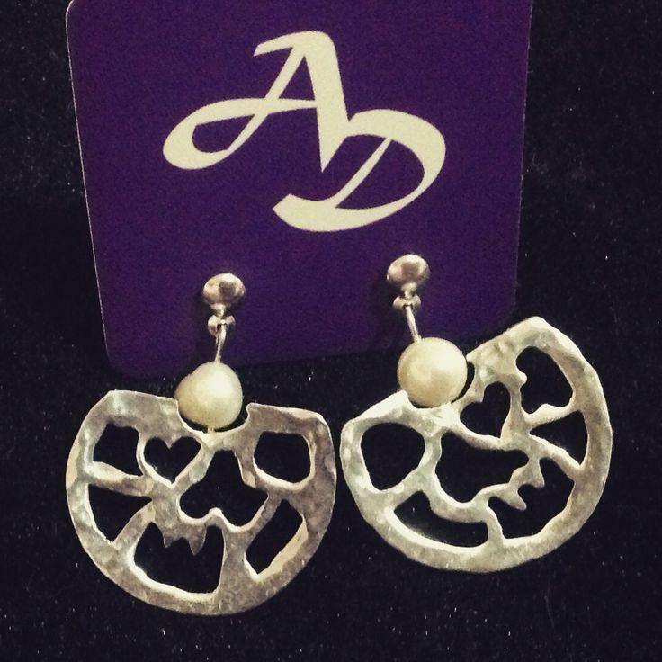Aretes plata ley caladas con perla cultivada