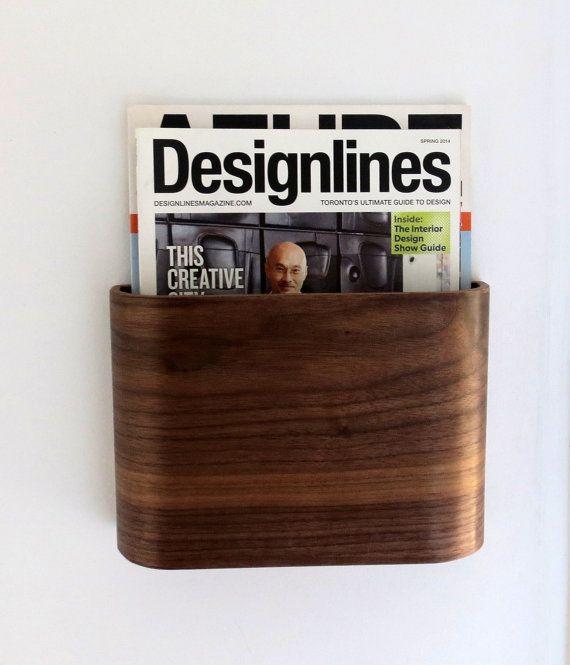 Magazine Rack Wall hung wooden magazine holder by offcutstudio