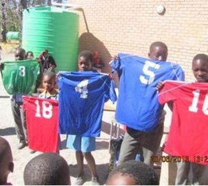 Teachers and students at Tubu Primary School, Botswana are delighted by the sportswear they received from CITW