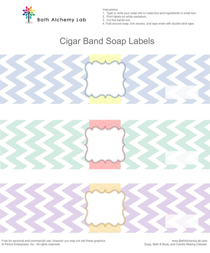 Free Chevron Cigar Soap Labels ~ Bath Alchemy Lab