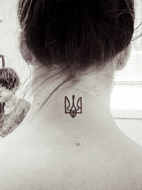 Tryzub tattoo - I like the thinness and the size in general, but I don't love the placement for me.