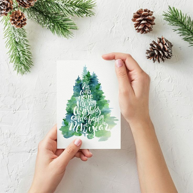 Christmas watercolor hand drawn cards #Christmas #tree #watercolor #lettering
