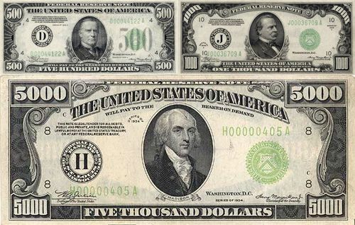 William McKinley was on the $500 bill, Grover Cleveland was on the $1,000, and James Madison was on the $5,000.