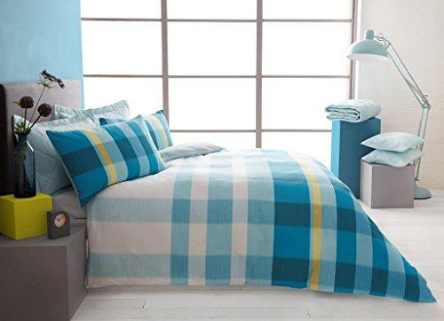 Duvet Set With Fitted Sheet Single Size Bed Cover , Pillowcase and matching Sheet Quilt Bedding Set Printed Reversible Poly Cotton ,Valentino Print Teal