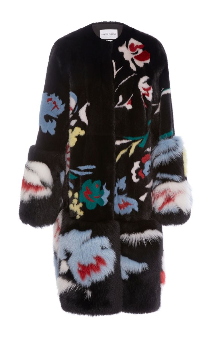 Floral Motif Mink and Fox Fur Coat by Prabal Gurung