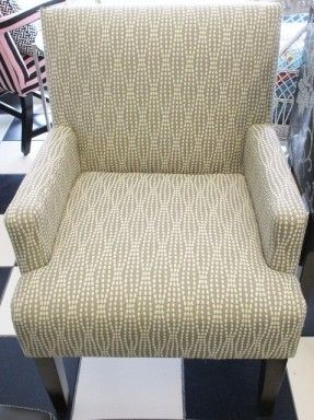 Grey and White Upholstered Arm Chair