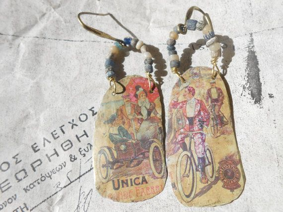 Gather your friends fancy old tin earrings vintage by RosinTrails