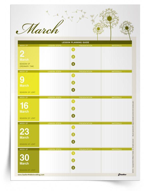 A Catechist's Calendar: March Lesson Preparation Planner  #Catholic #Catholics #Parish #Catechist #Free #Download