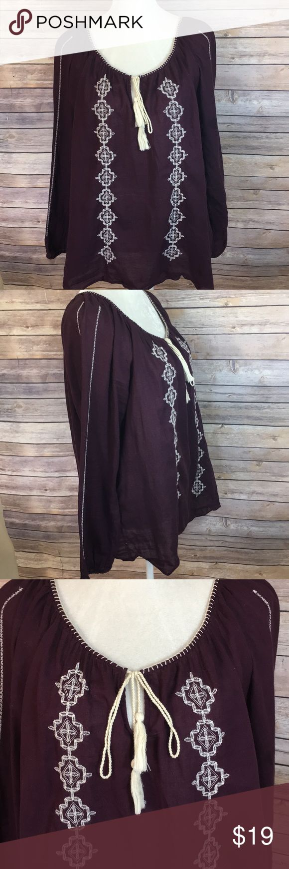 Lucky Brand plum boho festival blouse Plum colored long sleeve boho vibe blouse from Lucky Brand. Cream stitching throughout Lucky Brand Tops Blouses