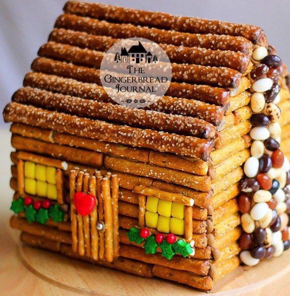Make a Log Cabin Gingerbread House | Log cabins, Pretzels and ...
