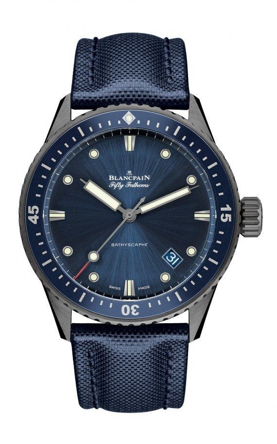 The Blancpain Fifty Fathoms Bathyscaphe is distinguished by its unidirectional bezel made of plasma gray ceramic and outfitted with a blue ceramic insert with hour markers made of LiquidMetal.  The 43-mm-diameter case is water-resistant to 300 meters and holds the self-winding caliber 1315.  More @ http://www.watchtime.com/wristwatch-industry-news/watches/new-blancpain-fifty-fathoms-bathyscaphe-debuts-in-gray-plasma-ceramic-case/ #watchtime  #watchnerd #Baselworld2016