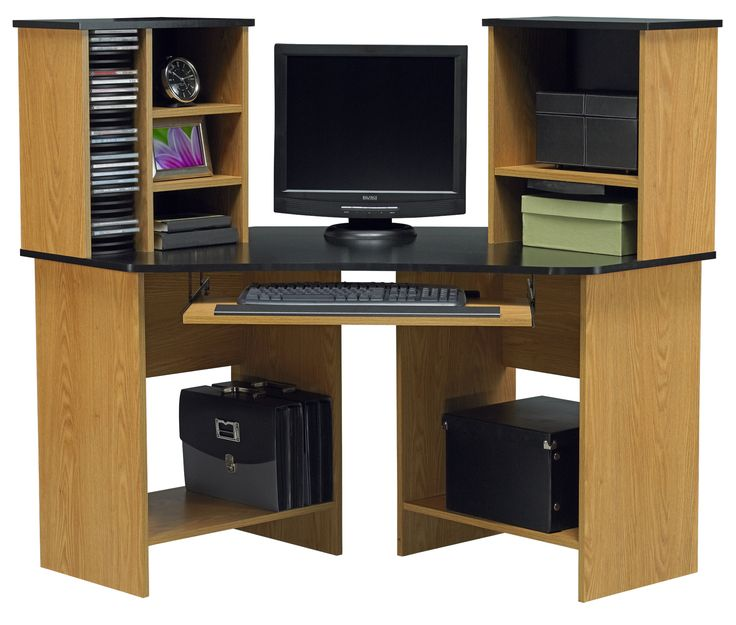 Corner Computer Desks For Your Home Office Furniture : Fascinating Black  Top Oak Wood Corner Computer