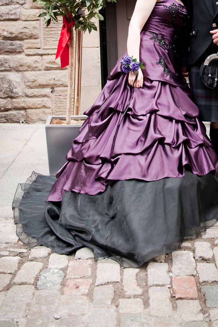 Purple and Black wedding dress: Halloween Wedding, Wedding Dressses, Wedding Ideas, Black Wedding, Purple Wedding Dresses, Weddings, Purple Dress, Purple Gown