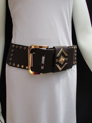 Brown Faux Leather Elastic Extra Wide Belt Multi Studs Gold Buckle New Women Fashion Accessories S - M