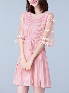 ピンク ブラック 全2色 韓国風 細身 着痩せ シフォン プリーツスカート デートワンピース