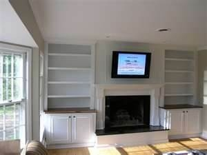 built in bookcases around fireplace without the tv