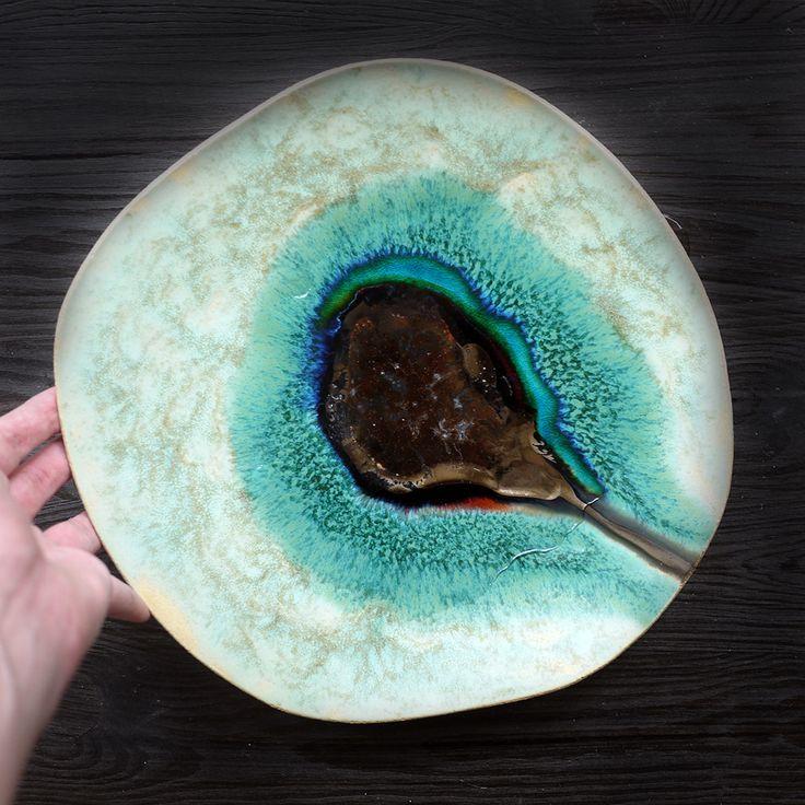 Ocean 12 decorative ceramic plate inspired by nature. 100% handmade work.