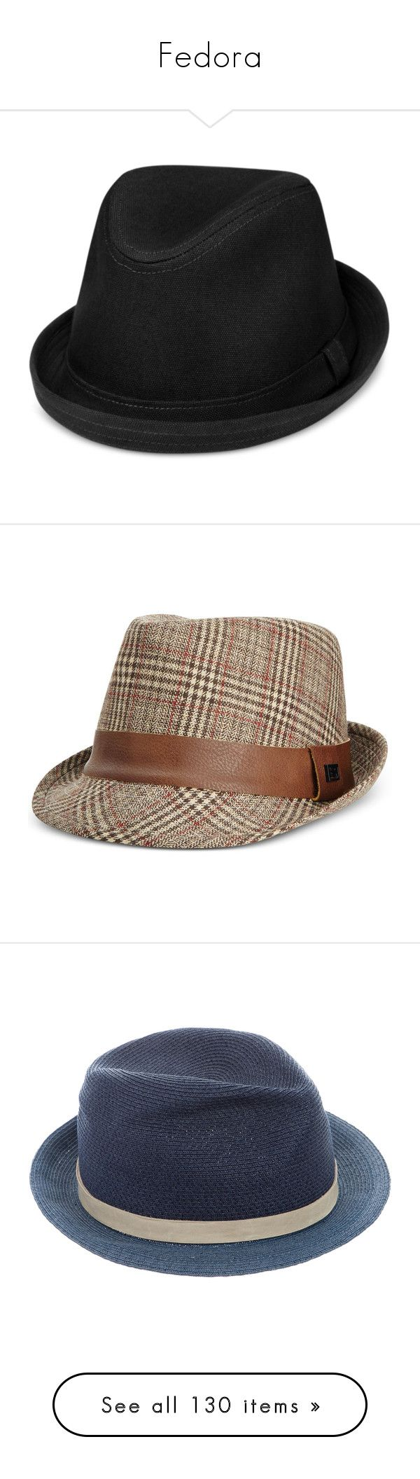 """""""Fedora"""" by aarabbit44 on Polyvore featuring men's fashion, men's accessories, men's hats, black, mens fedora hats, brown, mens fedora, mens hats, mens hats fedora and blue"""