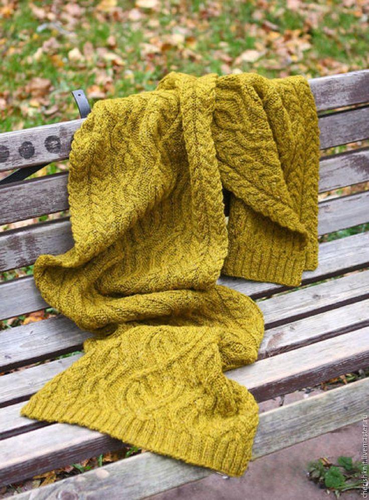 Купить Шарф вязаный шерстяной оливковый араны - оливковый, орнамент, шарф женский, шарф вязаный