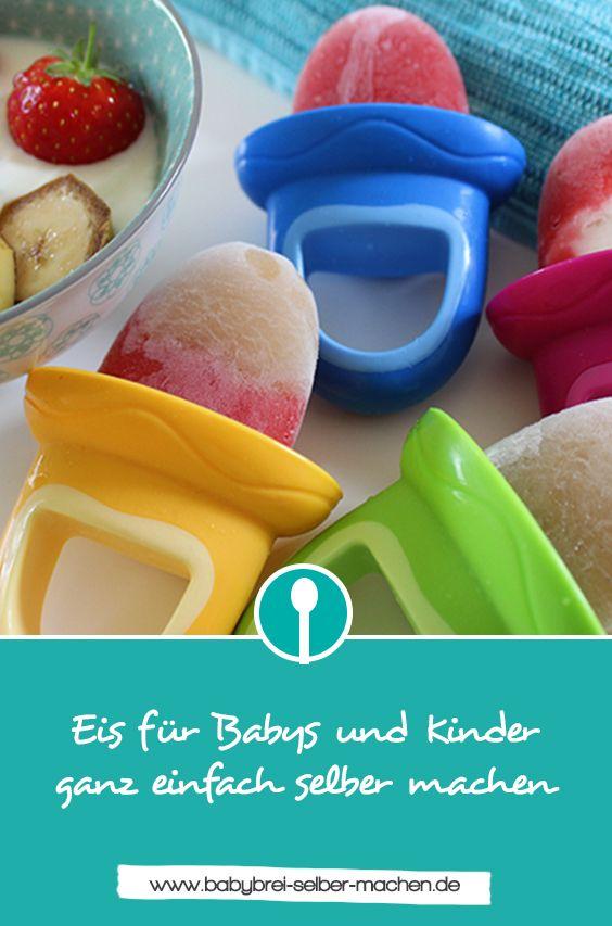 Zuckerfreies Eis am Stiel für Babys aus Obst und Joghurt selber machen. Ist auch prima beim Zahnen, da das Eis schön kühlt.
