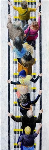 "UGallery.com | Pedestrians 2013-3 by Jim Zwadlo | $675 | acrylic painting | 27"" h x 9"" w | http://www.ugallery.com/acrylic-painting-pedestrians-2013-3"