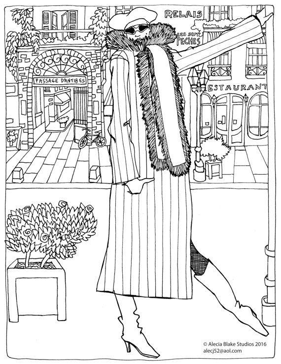 Adult Coloring Book Page Paris Pose By AleciaBlakeStudios On Etsy