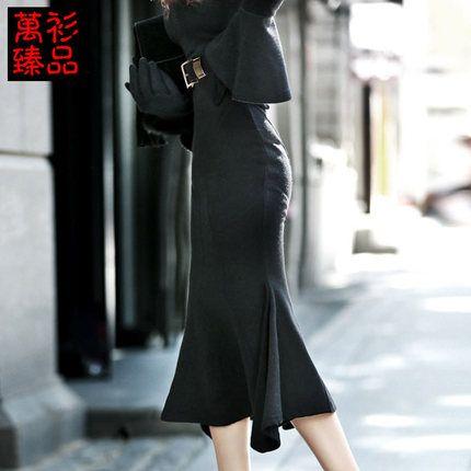 Ван рубашка Pierre зима длинный участок корейской версии сплошной цвет юбки высокие карманы бедра юбка Тонкий толстые шерстяные рыбий хвост юбки