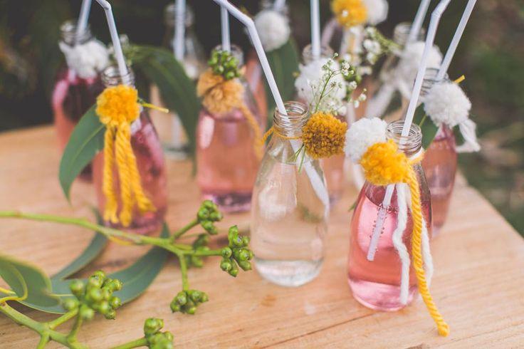 the little details - pom poms on drink bottles