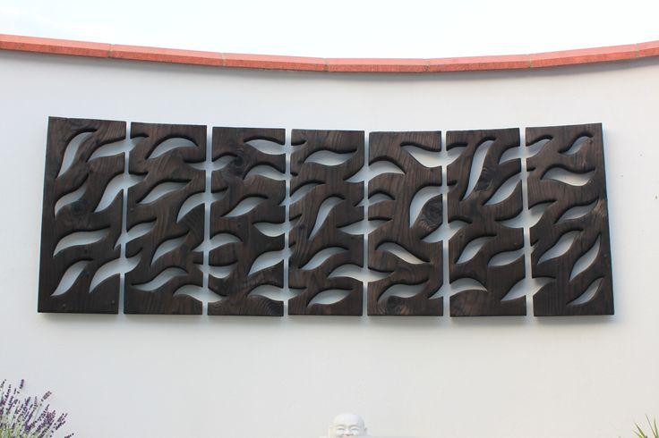 Wood wall art - Water 2.1m x 0.75m location Downe Kent by Tom Nicholson Smith 2013