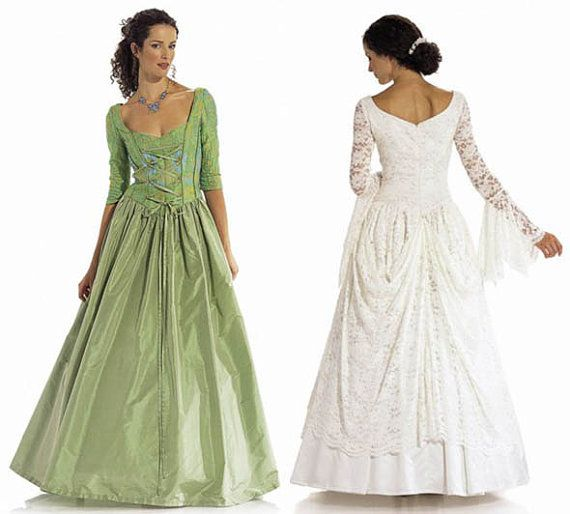 Medieval Look Wedding Dress Or Evening Ball Gown Laced Corset Bodice Flounced