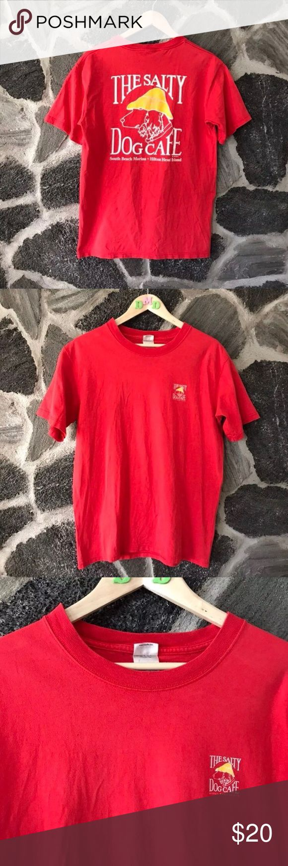 Vintage • red THE SALTY DOG graphic t-shirt Red THE SALTY DOG CAFE of Hilton Head island graphic t-shirt 1989 + size medium + condition 8.5/10 Very good condition , I washed it but didn't dry it so it's stiff until the next wash, true to size  #hiltonhead #saltydog #cafe #vintage #vtg #red #graphic #souvenir #travel #tourist #vacation #christmas #shopping #cybermonday #sale #gift #present Vintage Shirts Tees - Short Sleeve