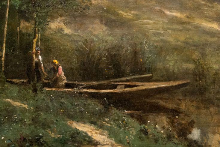 """Jean-Baptiste Camille Corot (1796 - 1875) """"Les Ruines du château de Pierrefonds"""" dét. (c. 1840 - 1845 et retravaillé vers 1866 - 1867) coll. Cincinnati Art Museum - exposition Durand-Ruel """"le pari de l'impressionnisme"""" musée du Luxembourg (Paris, France)"""
