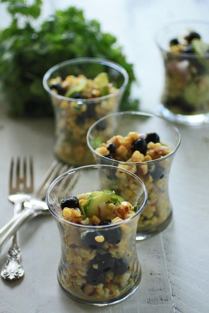 Grilled Corn and Blueberry Salad