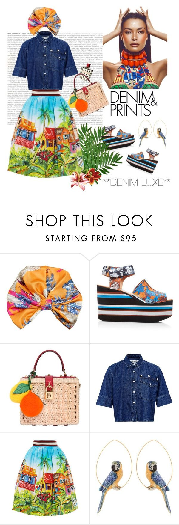"""""""**Denim Luxe**"""" by naturalbornstyler ❤ liked on Polyvore featuring Etro, Clover Canyon, Dolce&Gabbana, Être Cécile, Stella Jean and Nach"""