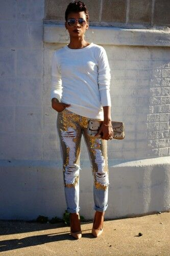 Distressed sequin jeans.  #YAS
