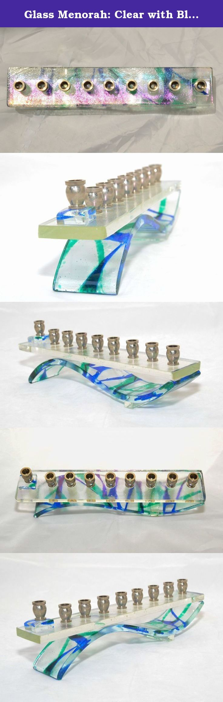 Glass Menorah: Clear with Blue and Green Fractured-Look and Iridescent-Clear Top. Fused glass art menorah. Thick layered wave base, attractive from all sides. Lively green and blue on clear base, infused into a fractured appearance (no, it's not really fractured - it's fused glass). Top is thick eye-candy iridescent clear glass that changes appearance as light around it changes. Heavy nickel plated metal candle cups.