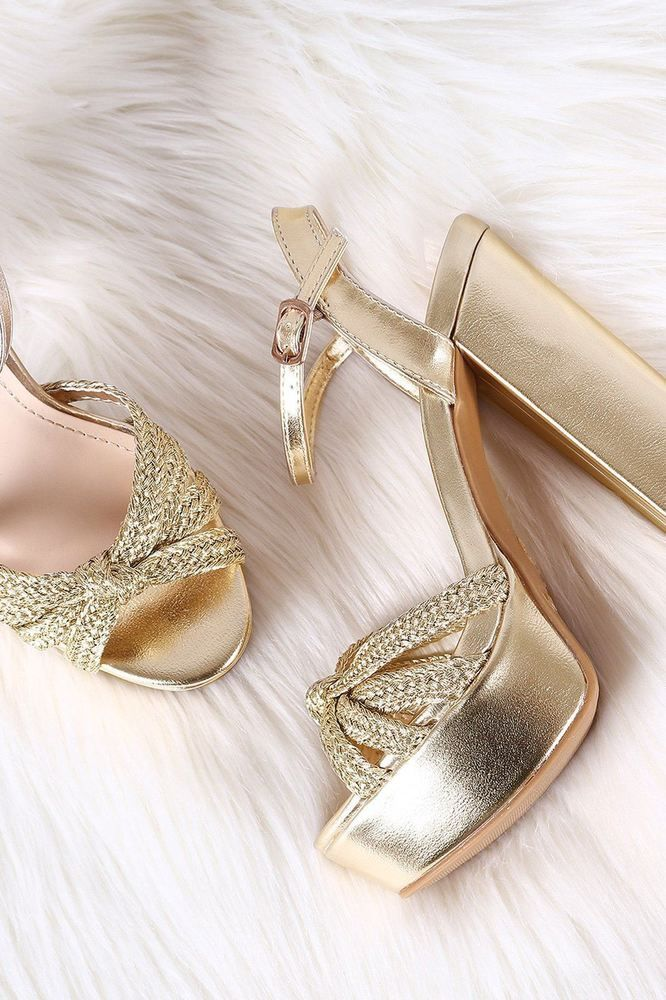 b7b83fa52249 Women Knotted Woven Straps Open Toe Chunky High Heels Platform Heel Party  Shoes  fashion  clothing  shoes  accessories  womensshoes  heels (ebay link)