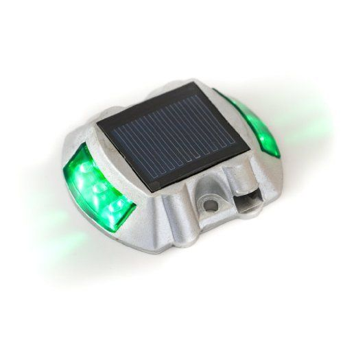 Solar LED Road Stud Deck Dock Lights - Green by Reusable Revolution LLC. $24.99. Provides up to 10 hours of light. Has a visual distance of 700 yards. Automatically illuminates when night falls or with the onset of inclement weather. 3 Setting switch for Constantly on, Off, or Flashing. Load capacity of up to 20 tons. This solar LED road stud is naturally charged by the sun. The super bright LED lights come on automatically as soon as it starts getting dark and l...