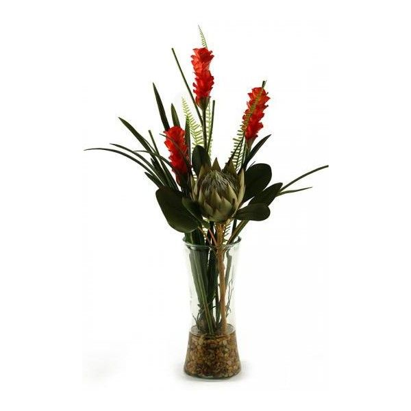 Tropical Bouquet in Glass Vase ($260) ❤ liked on Polyvore featuring home, home decor, floral decor, flowers, tropical flower bouquets, artificial flower arrangement, tropical home decor, fake flowers and glass flower stems