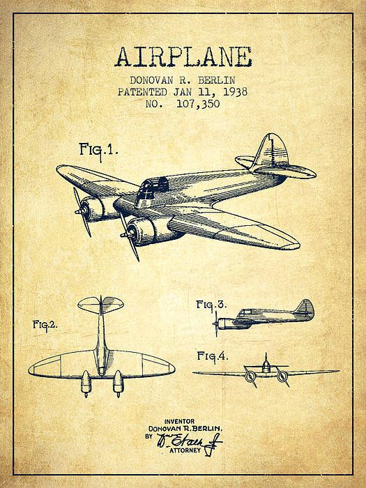 Airplane Patent Drawing From 1938-vintage Poster By Aged Pixel