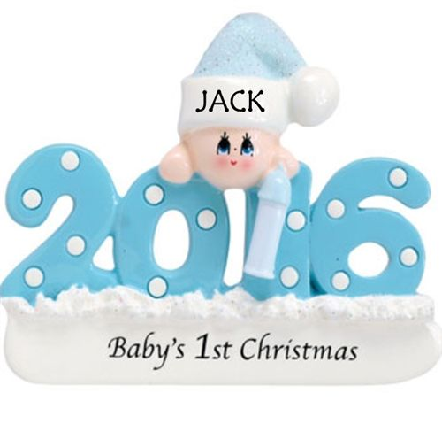 Celebrate a baby boy's first Christmas with this cute as can be Personalised 2016 Christmas Tree Decoration. Also available in Pink for little ladies. WowWee.ie | €12.50