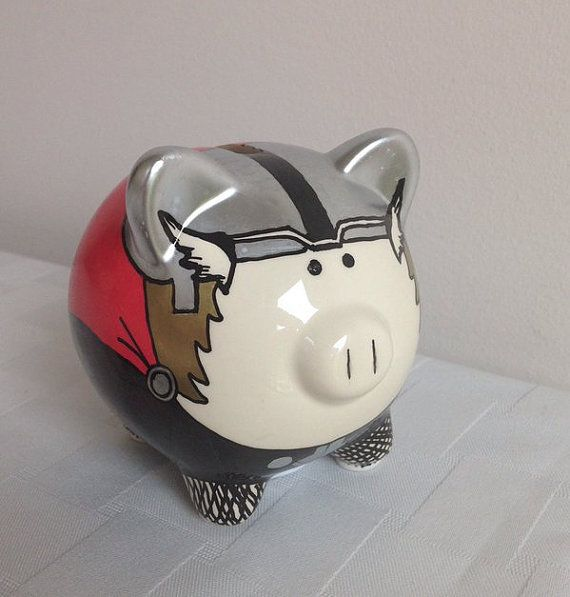 Miniature Hand Painted Thor Piggy Bank  Marvel by PalladiumPulse