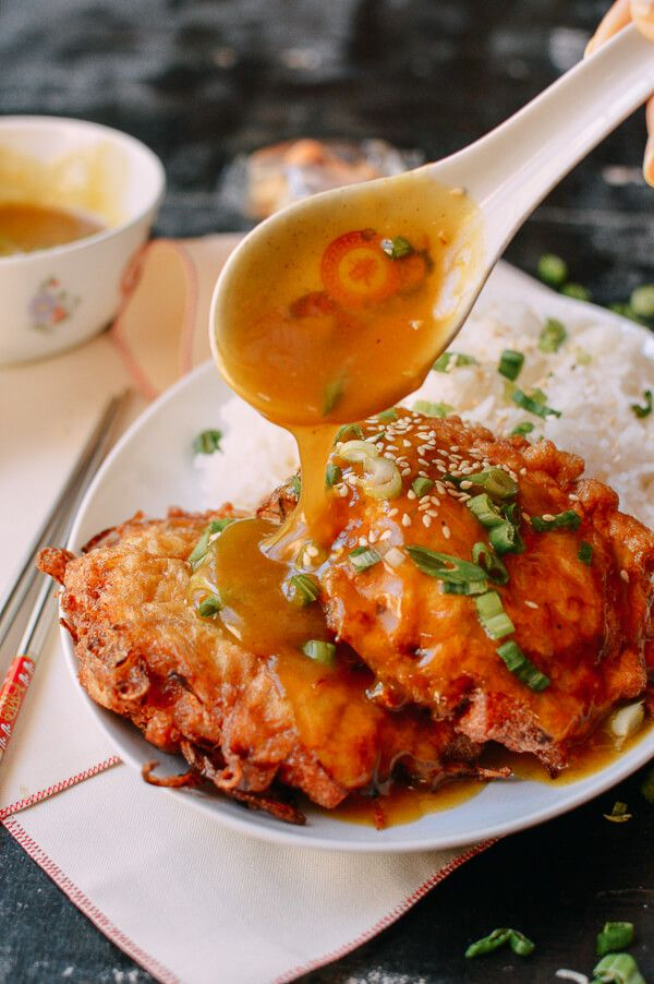 Chicken Egg Foo Young recipe, by thewoksoflife.com