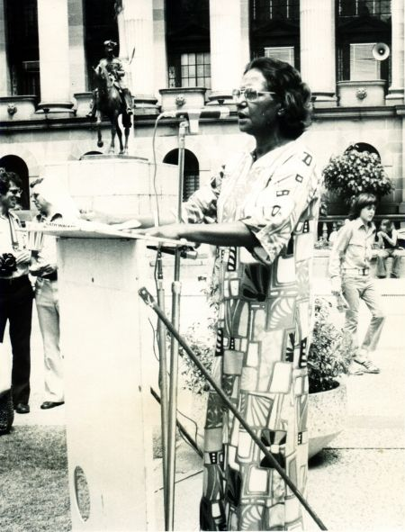 Photograph of Oodgeroo Noonuccal in Brisbane, 1975. She was instrumental in winning the vote for Indigenous people. Oodgeroo was elected Queensland State Secretary for the Federal Council for the Advancement of Aborigines and Torres Strait Islanders (FCAATSI) in 1962. She worked tirelessly towards gaining equal opportunities and equal citizenship for Aborigines and Torres Strait Islanders.