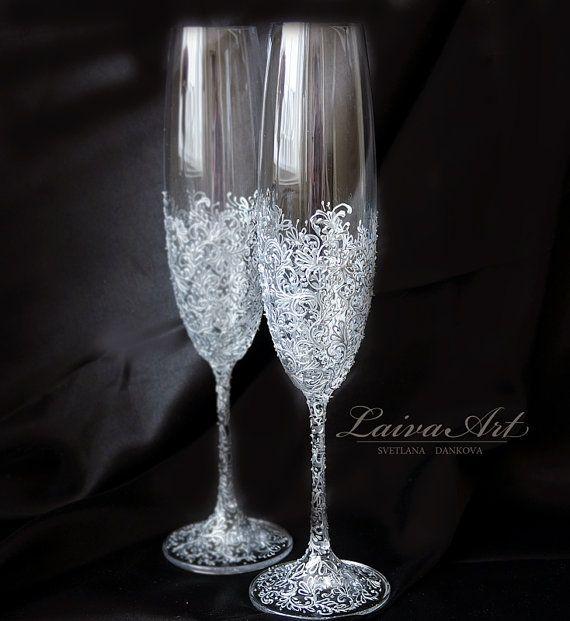Wedding Champagne Flutes Wedding Champagne Glasses от LaivaArt