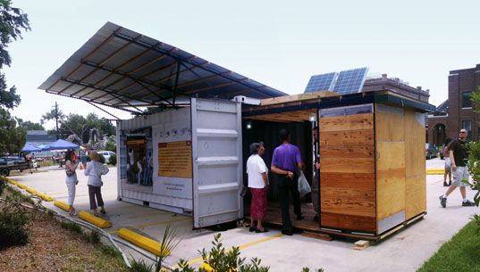 Emergency shelter provides water, sanitation, and power.... off the grid.