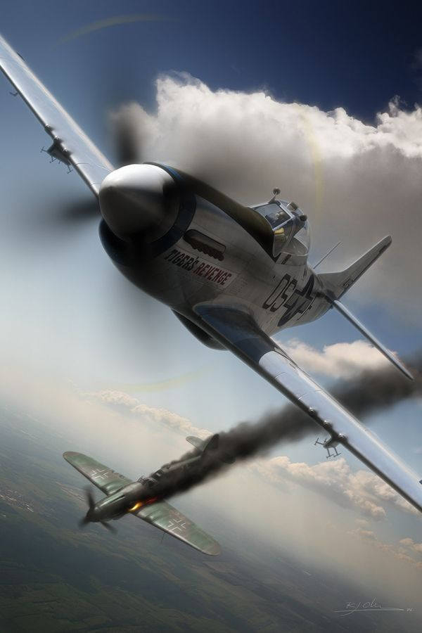 """""""One Down""""    P-51 Mustang, World War II, by Ronnie Olsthoorn"""