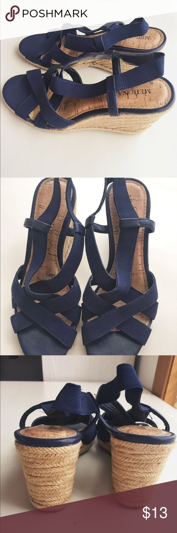 Navy wedges Cute summer wedges from Target. Only worn once or twice. Merona Shoes Wedges
